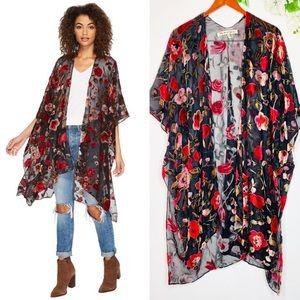 Michael Stars Cosmic Velvet Floral Kimono